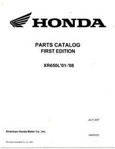 2001 2008 Honda Xr650l Parts Catalog 14my61e1
