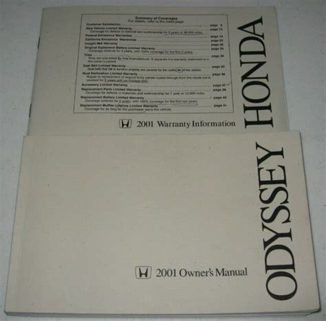 2001 Honda Odyssey Owners Manual