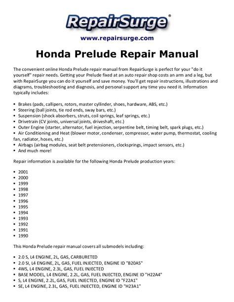 2001 Honda Prelude Service Manual