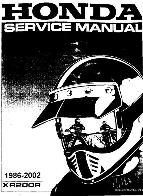 2002 Honda Xr200 Service Manual