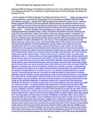 2003 Ap Biology Response Answers