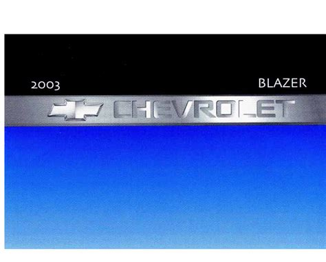 2003 Chevy S10 Blazer Owners Manual