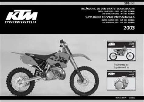 2003 Ktm 250 Sxs Supplement To Spare Parts Manual 320891