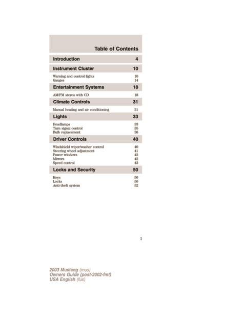 2003 Mustang Owner Manual