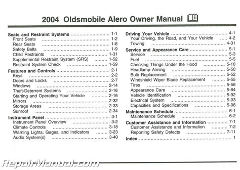 2004 Oldsmobile Alero Owners Manual Free