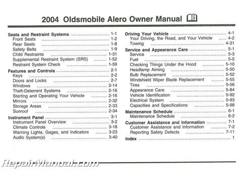 2004 Oldsmobile Alero User Manual
