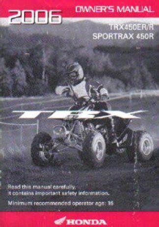 2006 Honda Trx450er R Factory Owners Manual 31hp1620