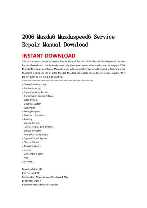 2006 Mazdaspeed 6 Repair Manual