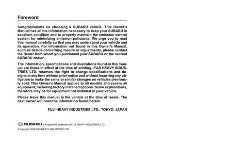 2006 Subaru Outback Owner Manual