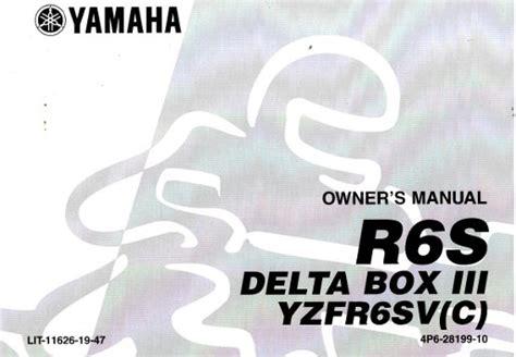 2006 Yamaha Yzfr6svc Owners Manual Ulit 11626 19 47