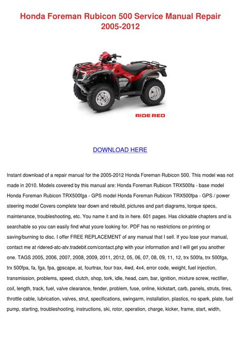 2007 Honda Rubicon 500 Service Manual