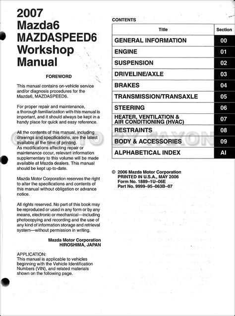 2007 Mazda 6 Repair Manual