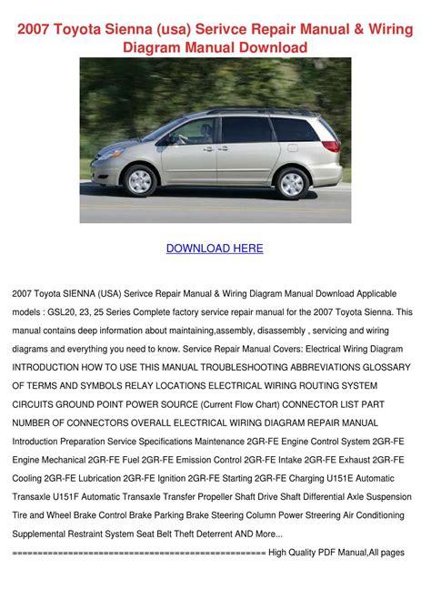 2007 Sienna Service Manual