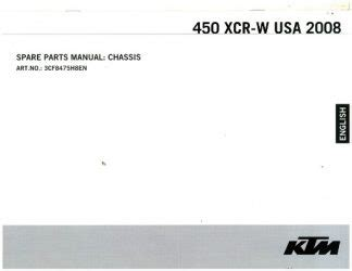 2008 Ktm 450 Xcr W Usa Chassis Spare Parts Manual 3cf8475h8en