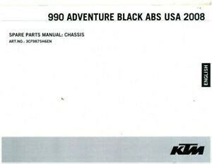 2008 Ktm 990 Adventure Black Abs Usa Chassis Spare Parts Manual 3cf9875h6en