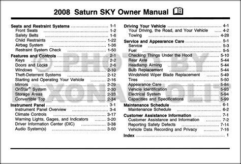 2008 Saturn Sky Owner Manual