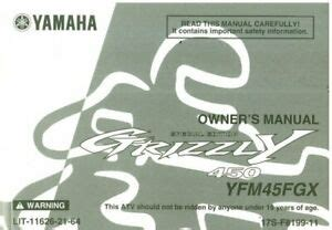 2008 Yamaha Yfm80gx Grizzly Owners Manual Lit 11626 21 06
