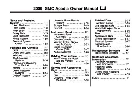 2009 Gmc Acadia Owner Manual