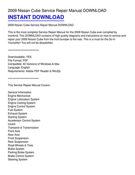 2009 Nissan Cube Owners Manual