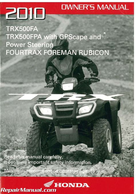2010 Honda Trx500fa Fpa Fourtrax Foreman Rubicon Factory Owners Manual 31hn2690