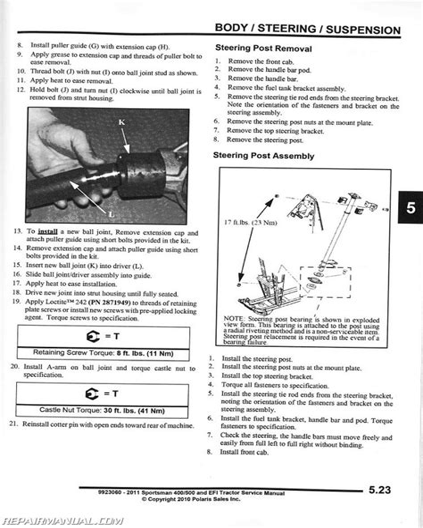 2011 Polaris Sportsman 400 Ho Service Manual