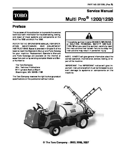 2011 Toro Multi Pro 1200 1250 Service Manual