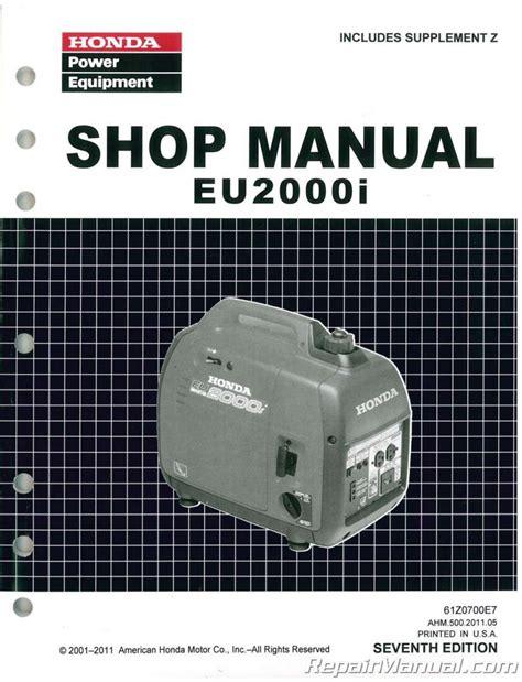 2012 Honda Generator Eu2000i Owners Manual