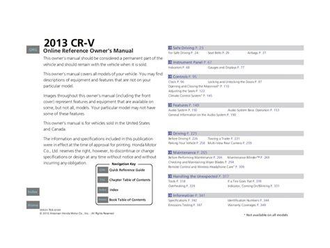 2013 Honda Crv Manual
