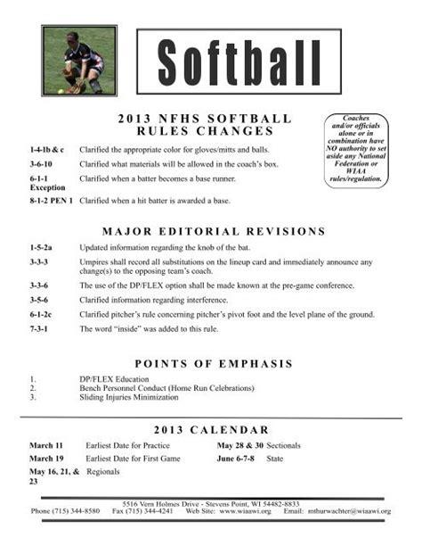 2013 Nfhs Softball Rule Manual