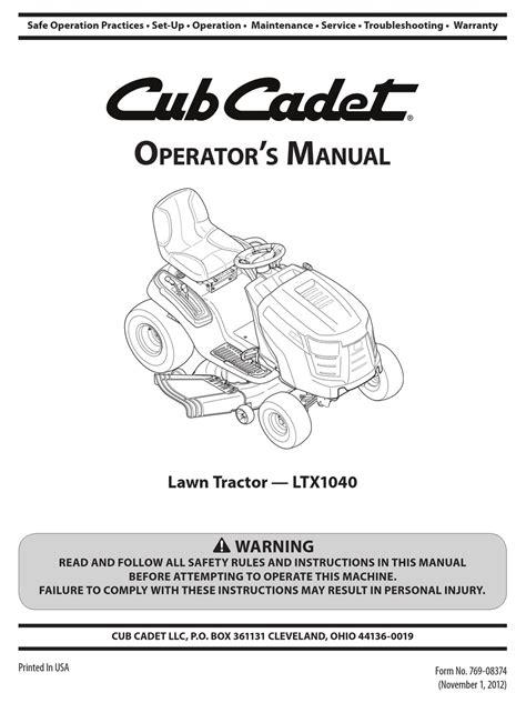 2015 Cub Cadet Ltx1040 Service Manual