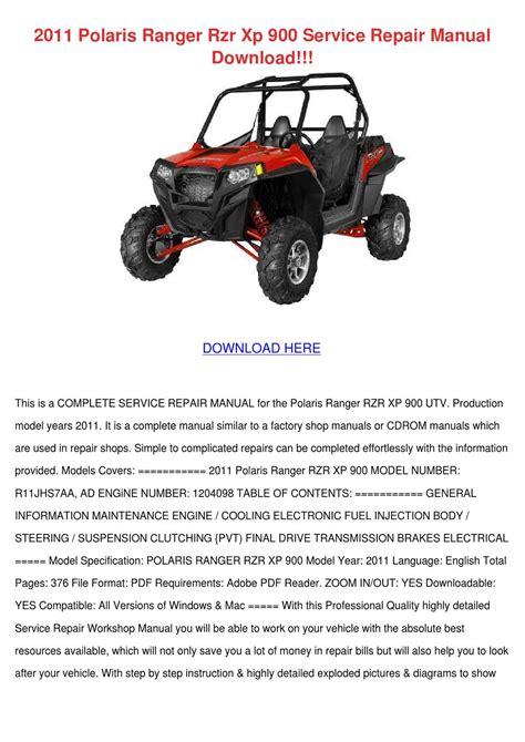 2015 Polaris Ranger 900 Xp Service Manual