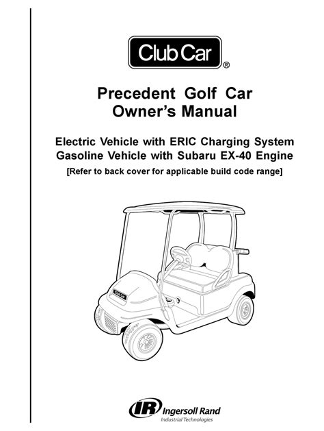 2016 Club Car Precedent Owner S Manual