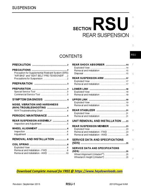 2016 Nissan Service Manual