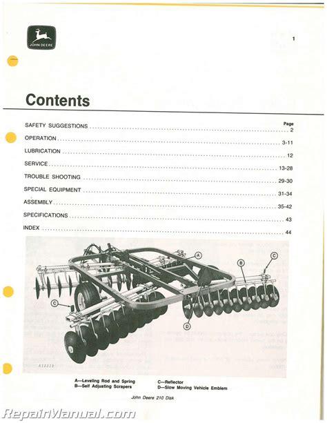 210 John Deere Disk Manual