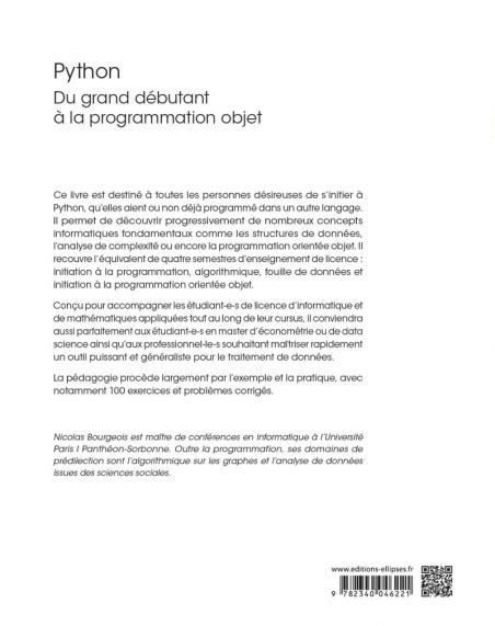 2340021537 Python Du Grand Debutant A La Programmation Objet Cours Et Exercices Corriges