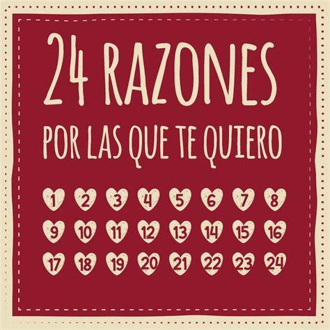 24 Razones Por Las Que Te Quiero Calendario De Adviento Para Rellenar Entrar Regalar Regalo Para Pareja Amigo O Amiga Novio O Novia