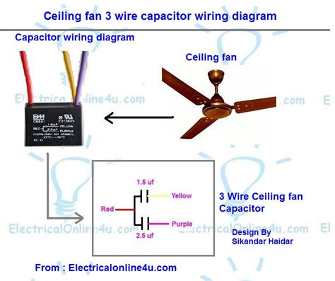 3 Wire Capacitor Ceiling Fan Wiring Schematic