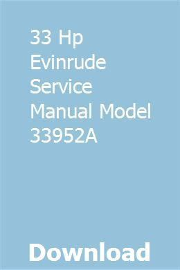 33 Hp Evinrude Service Manual Model 33952a