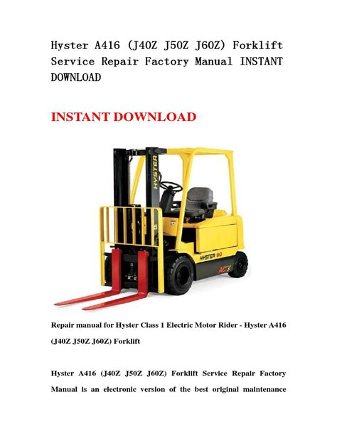 50 Hyster Forklift Manual