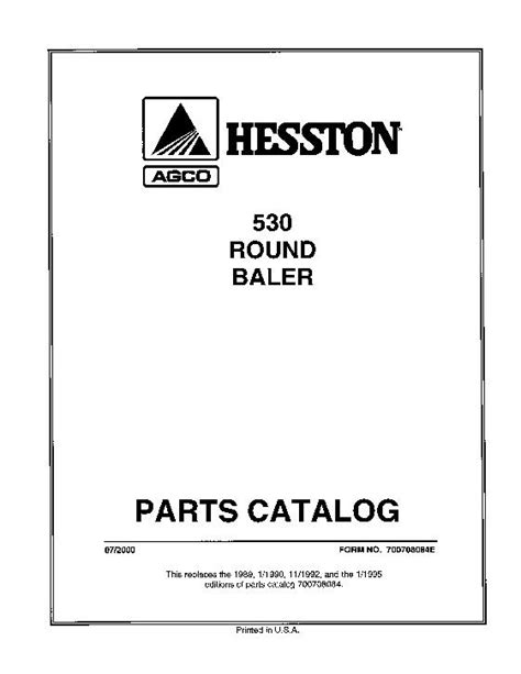 Hesston 5540 Round Baler Parts Manual Farm & Ranch Agricultural ...