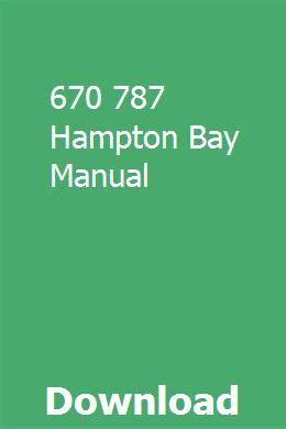 670 787 Hampton Bay Manual