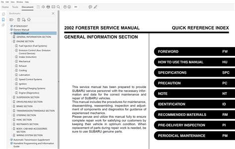 75 Mb 1999 2002 Subaru Forester Complete Factory Service Manual Fsm Repair Manual Workshop Manual 99 2000