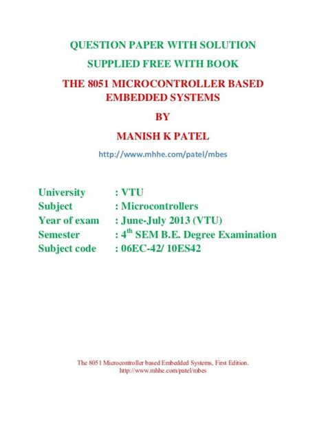 8051 Microcontroller And Embedded Systems Solution Manual