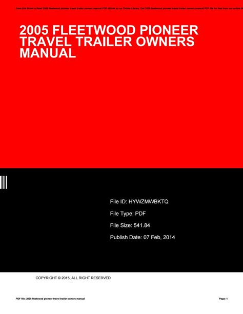 84 Fleetwood Travel Trailer Owners Manual