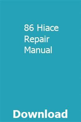 86 Hiace Repair Manual