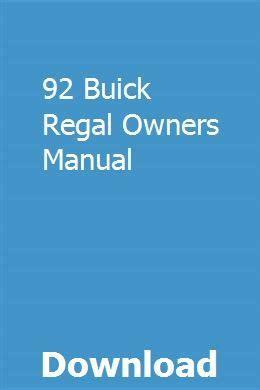92 Buick Regal Owners Manual