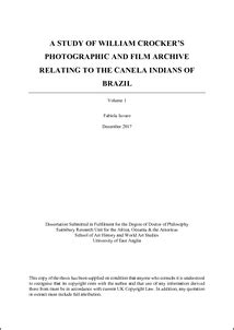 A Study of William Crocker's Photographic and Film Archive: Relating to the Canela Indians of Brazil