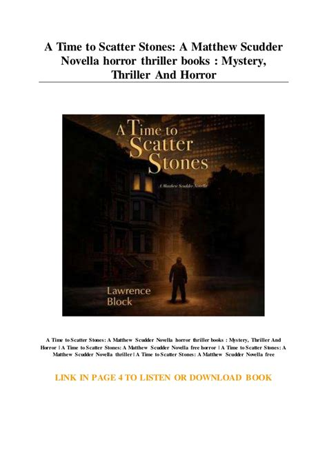 A Time To Scatter Stones A Matthew Scudder Novella