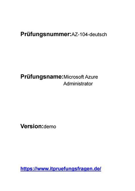 AZ-104 Deutsch Prüfungsfragen