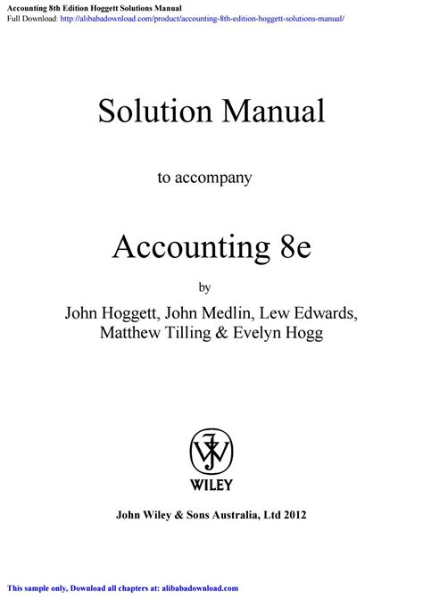 Accounting 8th Edition Hoggett Solution Manual